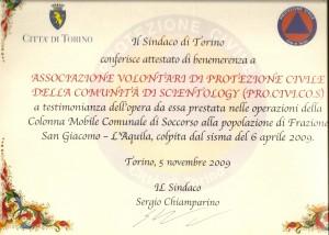 benemerenza - PROCIVICOS (volontari di protezione civile della comunità di scientology)